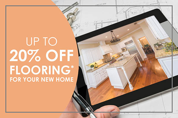 Up to 20% off flooring for your new home this month at Floorcrafters in Onalaska!